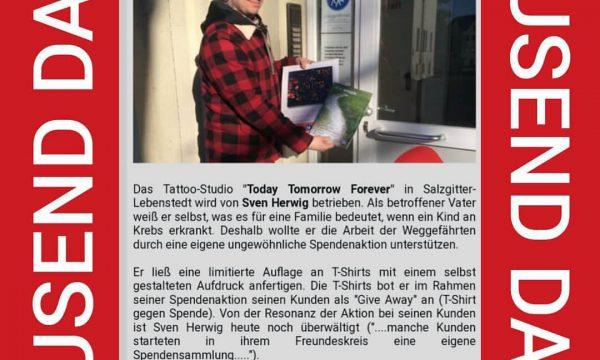 Tattoo Studio Today Tomorrow Forever - Danksagung der Weggefährten für Spende.