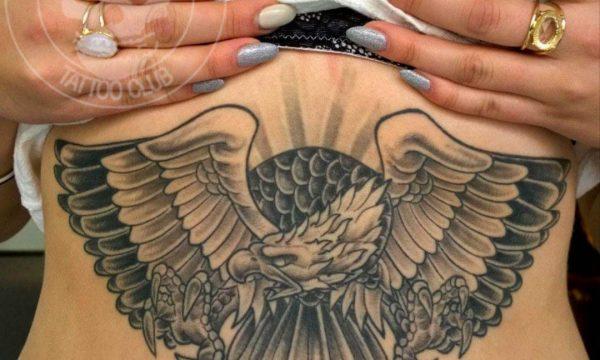 Tattoo Studio Today Tomorrow Forever - Tätowierung Weißkopfadler auf Bauch und Rippenbogen.
