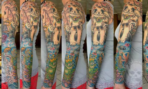 Tattoo Studio Today Tomorrow Forever - Tätowierung Katze, die in einem See angelt.