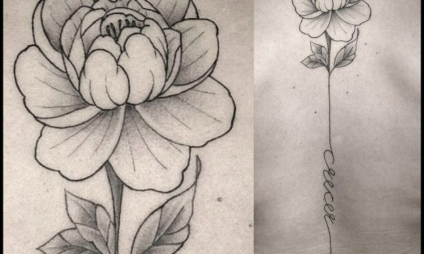 Tattoo Studio Today Tomorrow Forever - tätowierte Blume, die in eine Linie verläuft.