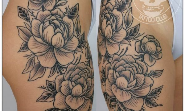 Tattoo-Blumen-Bein-Frau-Today-Tomorrow-Forever